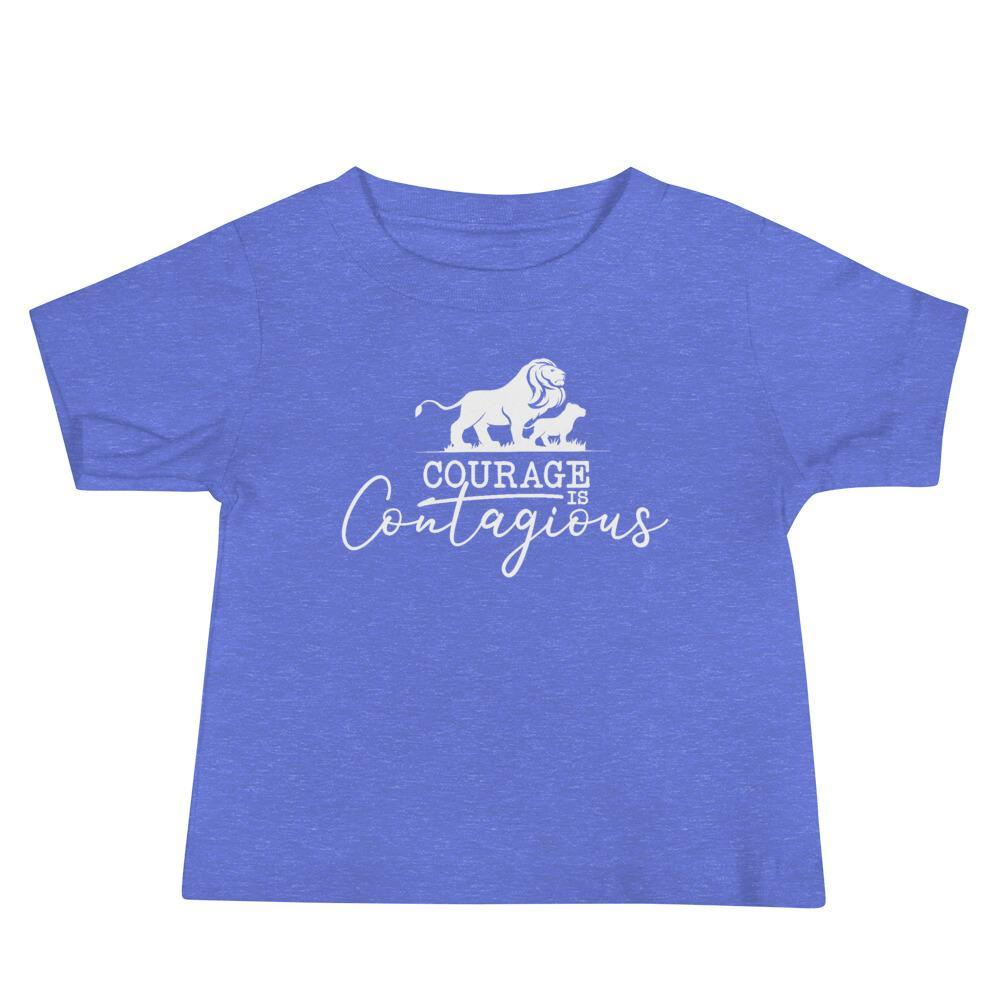 Courage Lion Baby T-Shirt Columbia Blue - Path Made Clear