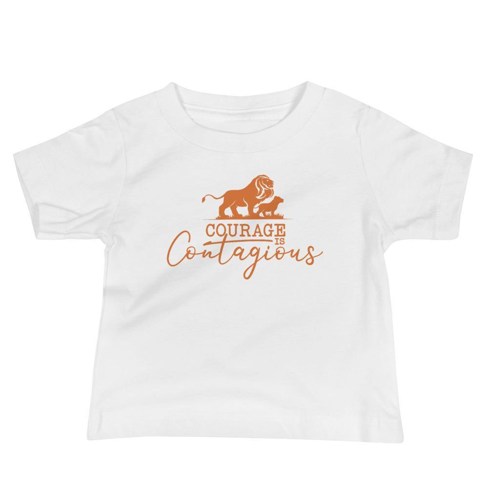 Courage Lion Baby T-Shirt White - Path Made Clear