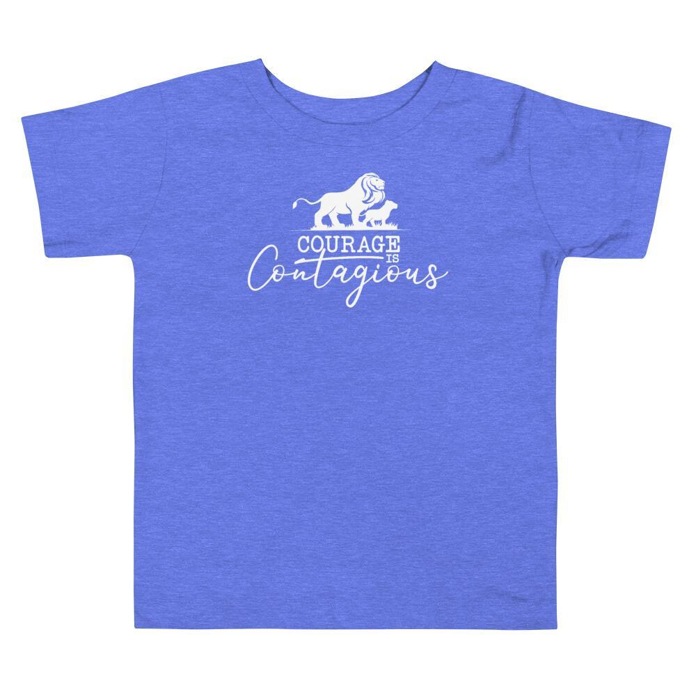 Courage Lion Toddler T-Shirt Columbia Blue - Path Made Clear