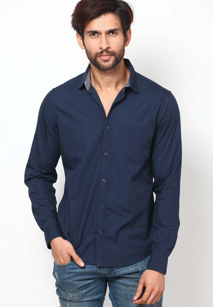 018a89dd0157 Envelope Style. United Colors of Benetton Navy Blue Poplin Shirt Solid Casual  Shirt