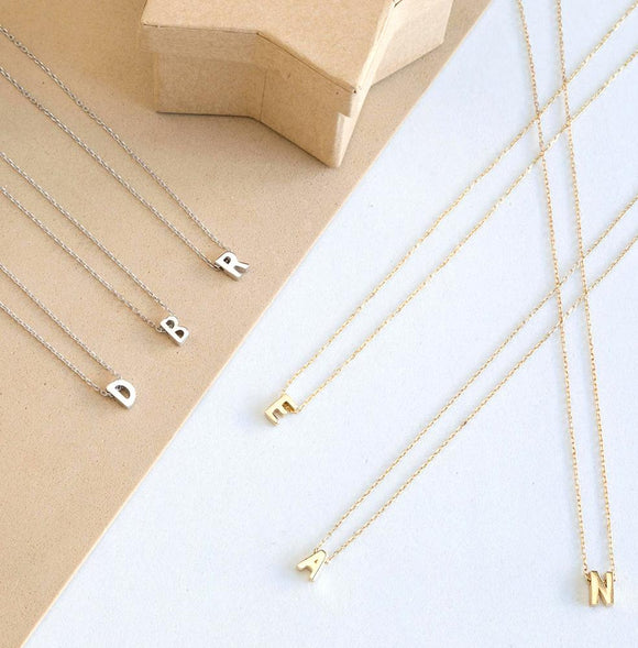 Silver-Plated Initial Necklaces