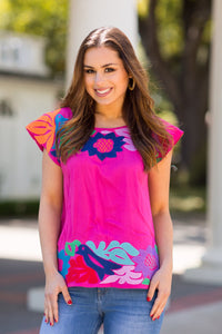 J Marie Pink/Multi Embroidered Top