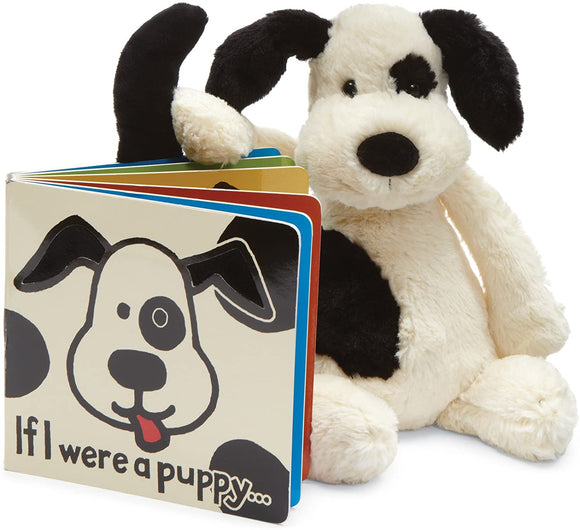 Jellycat If I Were a Puppy Book & Bashful Black & Cream Puppy