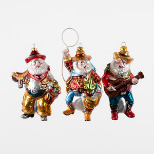Cowboy Santa Ornament (Assorted)