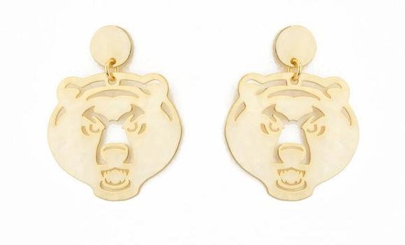Baylor Bear Head Drop Earrings