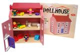 WOODEN DOLLS HOUSE, DOLLS & FURNITURE