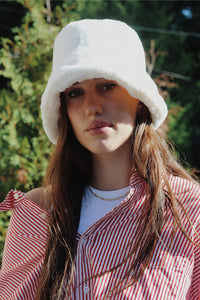 Faux Fur Bucket Hat - White