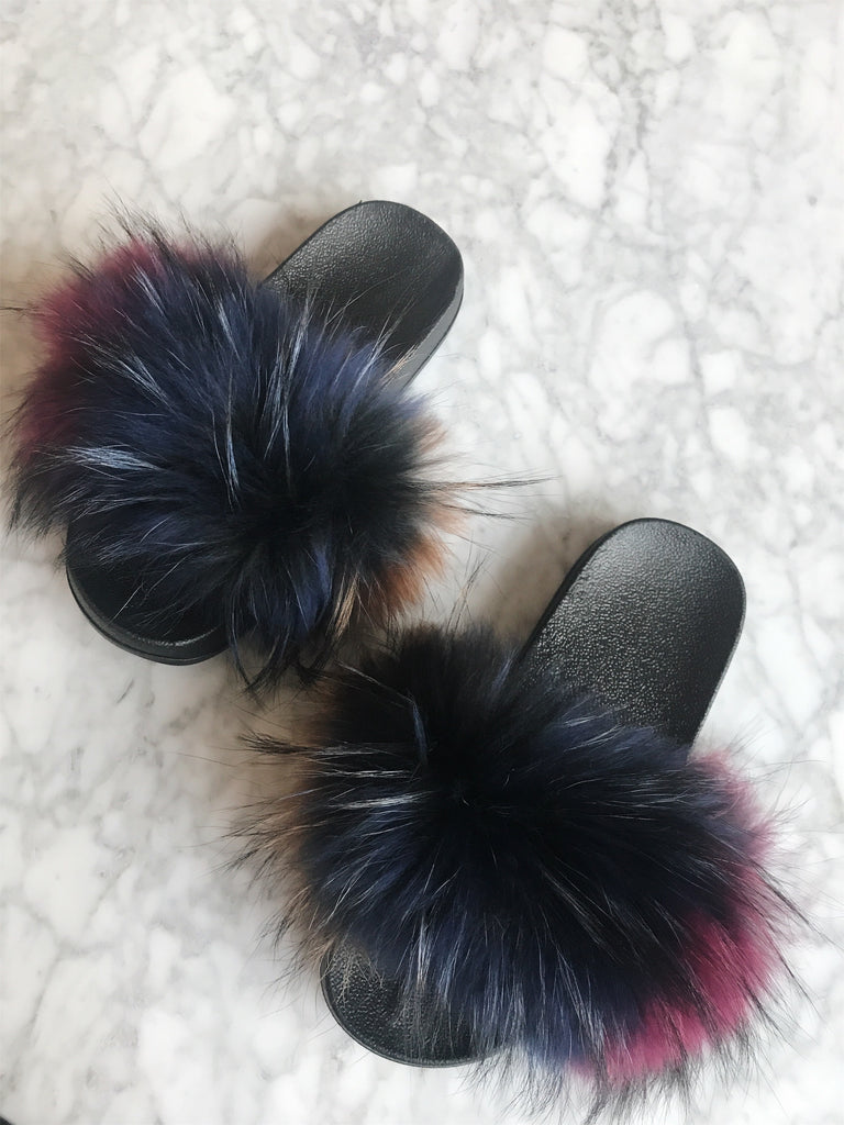 Multicolour Fur Slides