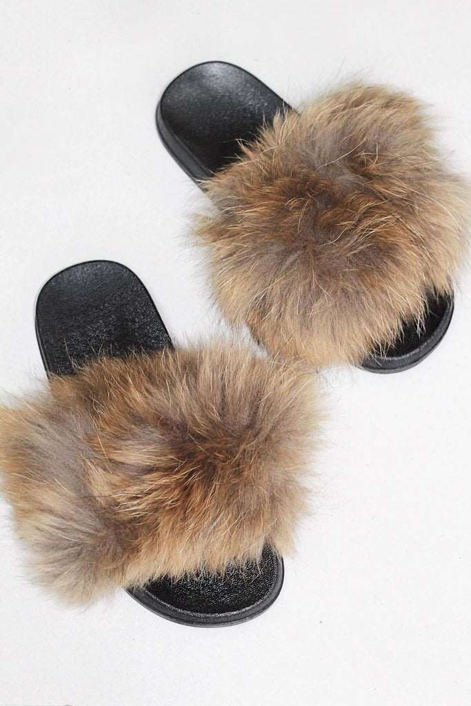 Natural Fur Slides