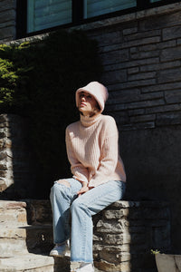 Faux Fur Bucket Hat - Light Pink