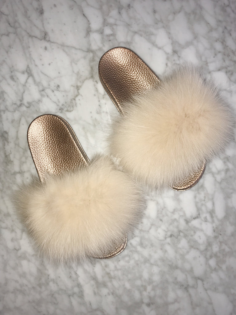 Rose Gold Fur Slides