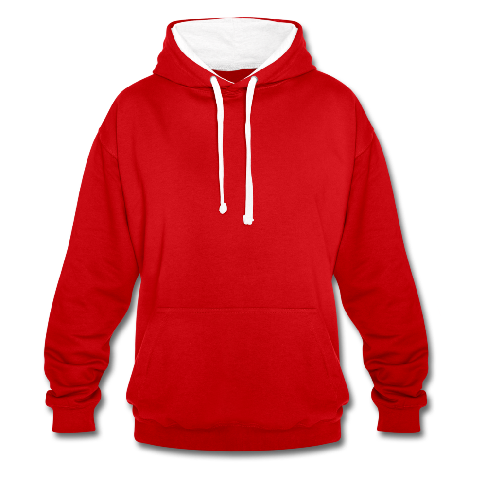 Contrast Colour Hoodie - red/white