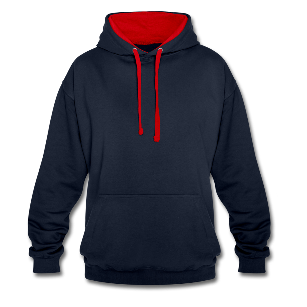 Contrast Colour Hoodie - navy/red