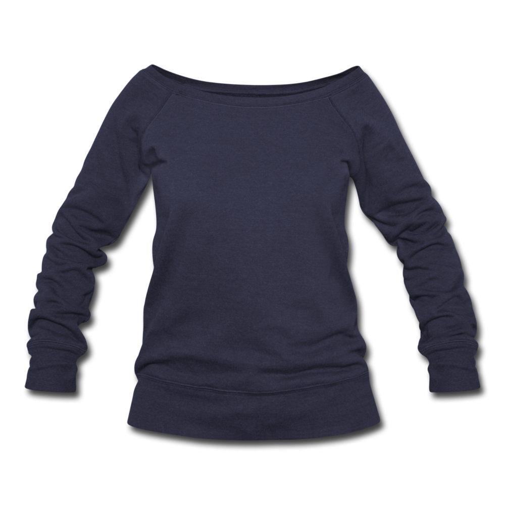 Women's Boat Neck Long Sleeve Top - heather navy
