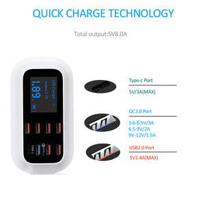 STOD Smart USB Charger 40W LED Display 8 Port Type C Quick Charge 3.0 For iPhone Samsung Huawei Nexus Xiaomi QC3.0 AC Adapter