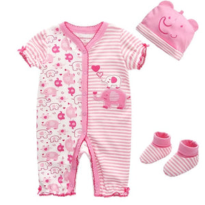 Newborn baby clothes Long Sleeve Baby Rompers One Piece o-neck baby Jumpsuit 100% Cotton baby cap and sock Baby suit