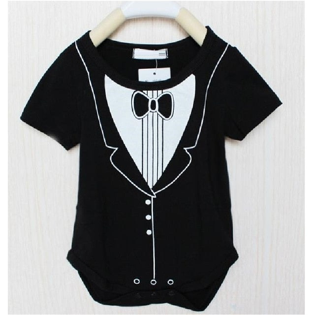 2018 Baby boys bodysuits Baby clothes black tuxedo baby jumpsuit newborn baby clothes roupa de bebe