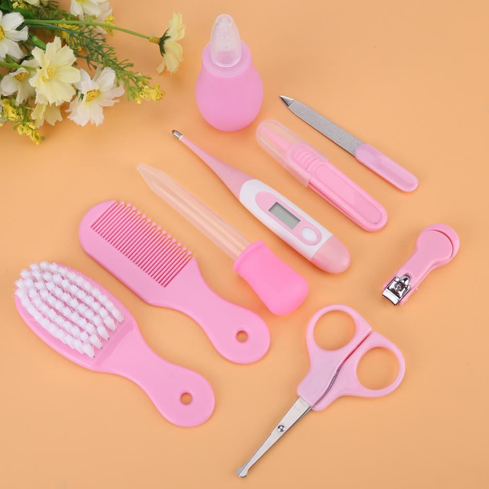 9PCS/Baby Grooming Care Manicure Set Baby Healthcare Special Nail Clippers Set Comb Hairbrush Thermometer Newborn Safety Care