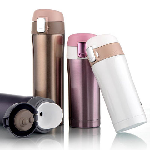 New 2 Sizes Thermos Mug Vacuum Cups Stainless Steel Car Bottle Insulated Tumbler Vehicle Bottle Spring Cap Bottle Water Bottles