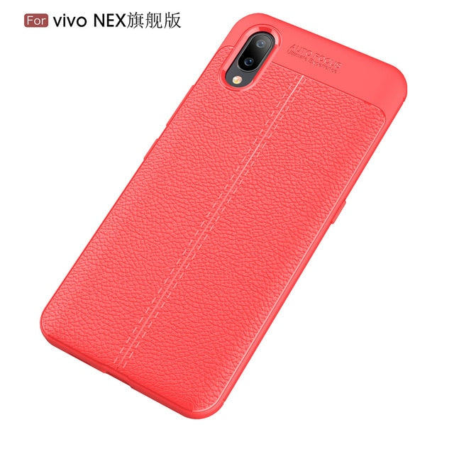 CASEWIN mobile phone case For Vivo NEX S Fitted Case Ultra Slim Fit Litchi Grain TPU Phone Case For Vivo NEX S phone cover
