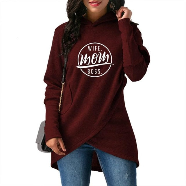 2018 New Fashion WIFE Mom BOSS Print Sweatshirts Hoodies Women Femmes Tops Thick Funny Youth Print Creative Comfortable
