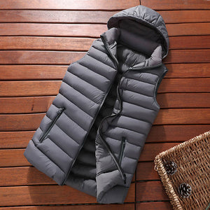 Winter Sleeveless Jacket Men Down Vest Men Warm Thick Hooded Coats Male Cotton-Padded Men's Work Waistcoat Gilet Homme Vest 8XL