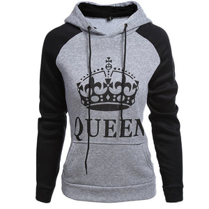 Couple Hoodie Fall Winter Civvies Women Clothing Men Long Sleeves Sweatshirts Lettered Pattern QUEEN KING Print Casual Wear Hats