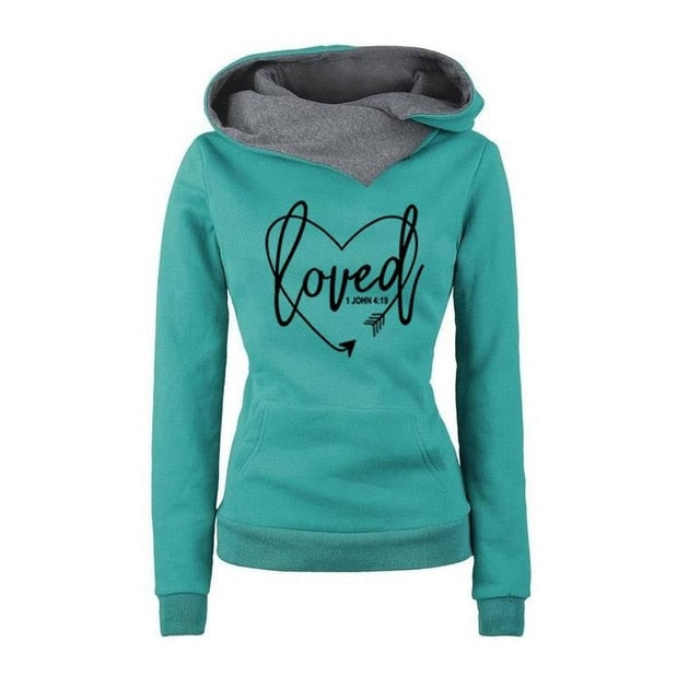 2018 New Fashion Love Print Sweatshirt Femmes Sweatshirts Kawaii Hoodies Women Hoody Loose Funny Printing Cropped Autumn