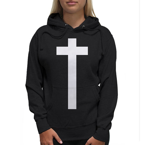 Jesus Cross Pullover Hoodies Women Christman Faithful Fleece Hoody Causal Harajuku Women Jumpers Black Shirts Plus Size 3XL