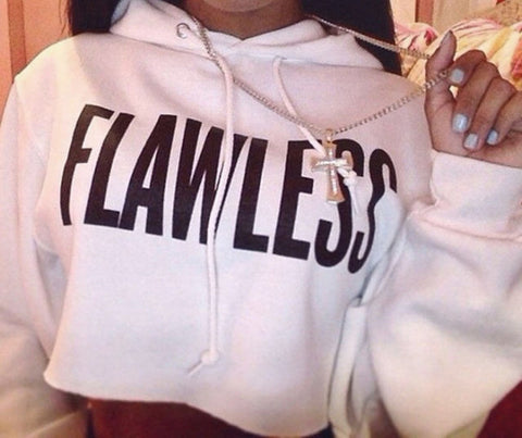FLAWLESS Crop Sweatshirts Women Men Hoody Hoodie Sexy Cropped Sweats Jumper Outfits  Tops Hoodies