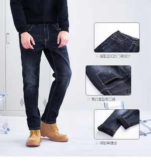 Pioneer Camp winter thick jeans men straight warm fleece inside denim pants male quality heavyweight dark blue ANZ803164