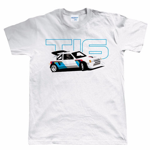 2019 Hot Sale 100% Cotton Men 205 T16 Classic Group B Rally Car T Shirt - Gift For Dad Christmas Christmas Tee Shirts