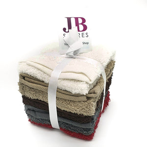 5pcs Cotton Face Cloths Brown and Wine mix
