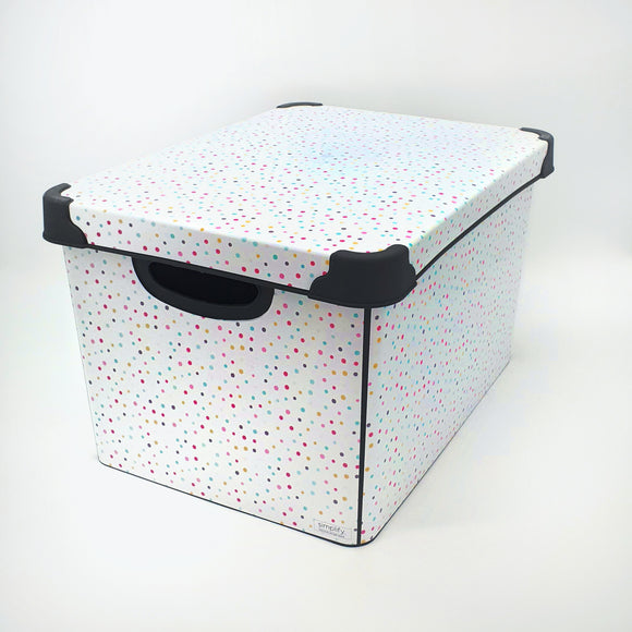 Large Storage Box with lid printed Dots