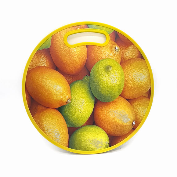 Plastic Chopping Board Round 35cm Yellow