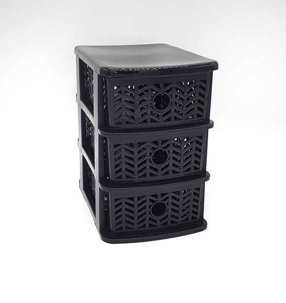 Stackable Drawers 3 Black Herringbone