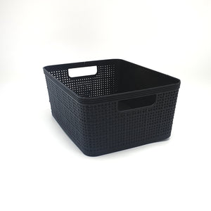 Small Storage Basket Plastic Black
