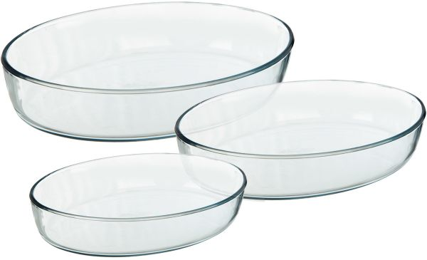 Glass Baking Dishes- Oval Set Of 3