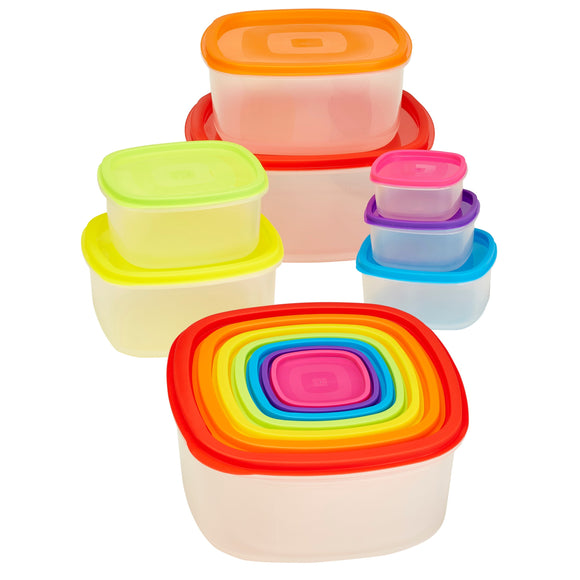 14 piece Medium Rainbow Nested Food Storage Set BPA Free