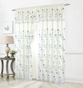 Embroided Curtain W/Valance and Sheer Cream and Blue 137cm * 228cm