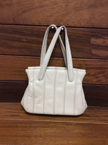 1960s Jane Shilton Cream Leather Clamshell Handbag with provenance.
