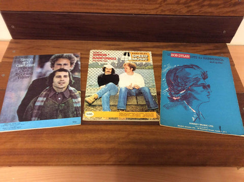 3 x Music Sheet books (Simon & Garfunkel, Bob Dylan).
