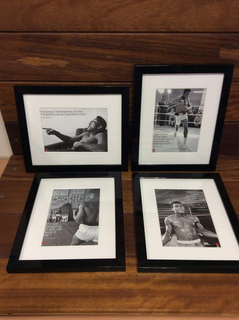 "4 x Muhammed Ali Framed print & Quote 8"" x 10"""