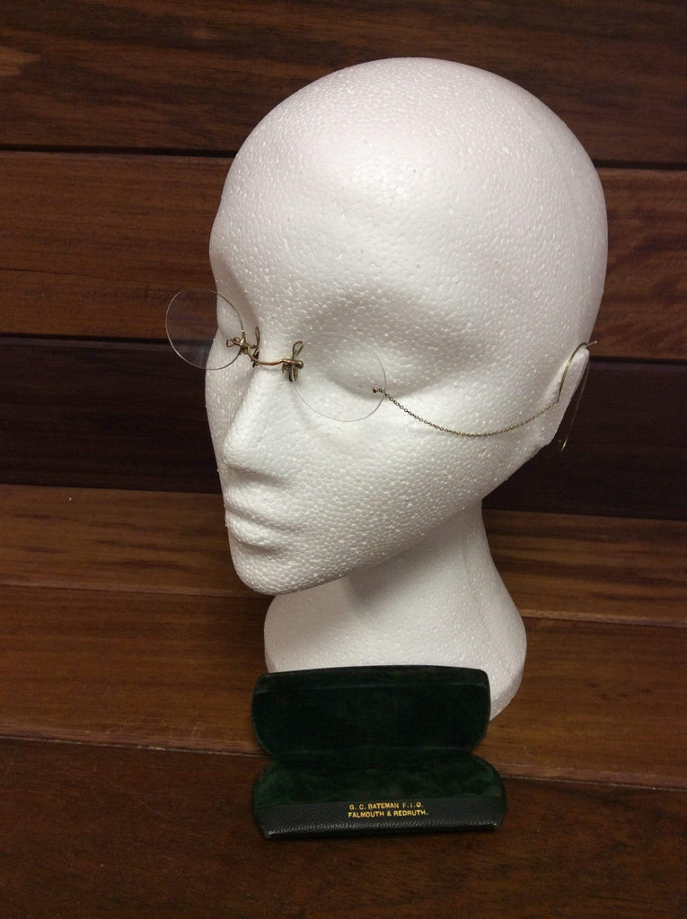 Antique Steampunk Pince Nez spectacles with gold chain, ear hook and original case