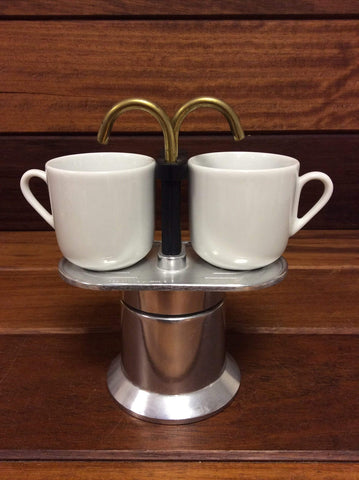 Bialetti Coffe Percolator and cups. Stove top coffee maker.