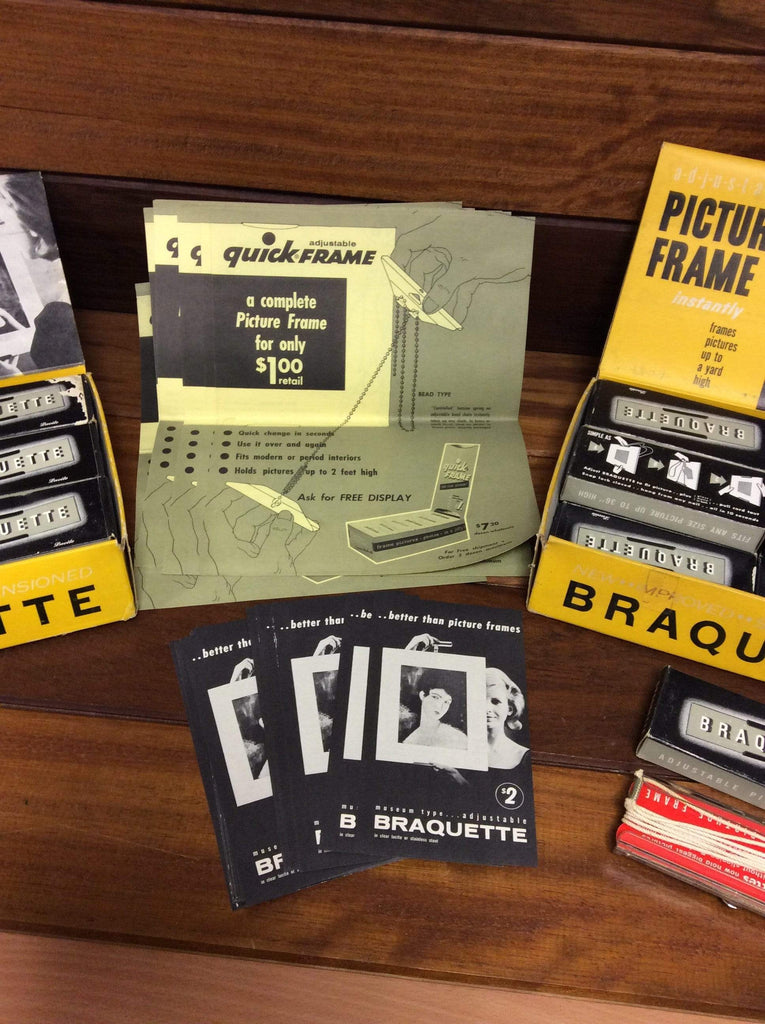 Brand new old stock Boxed Braquette picture frames with promotional material