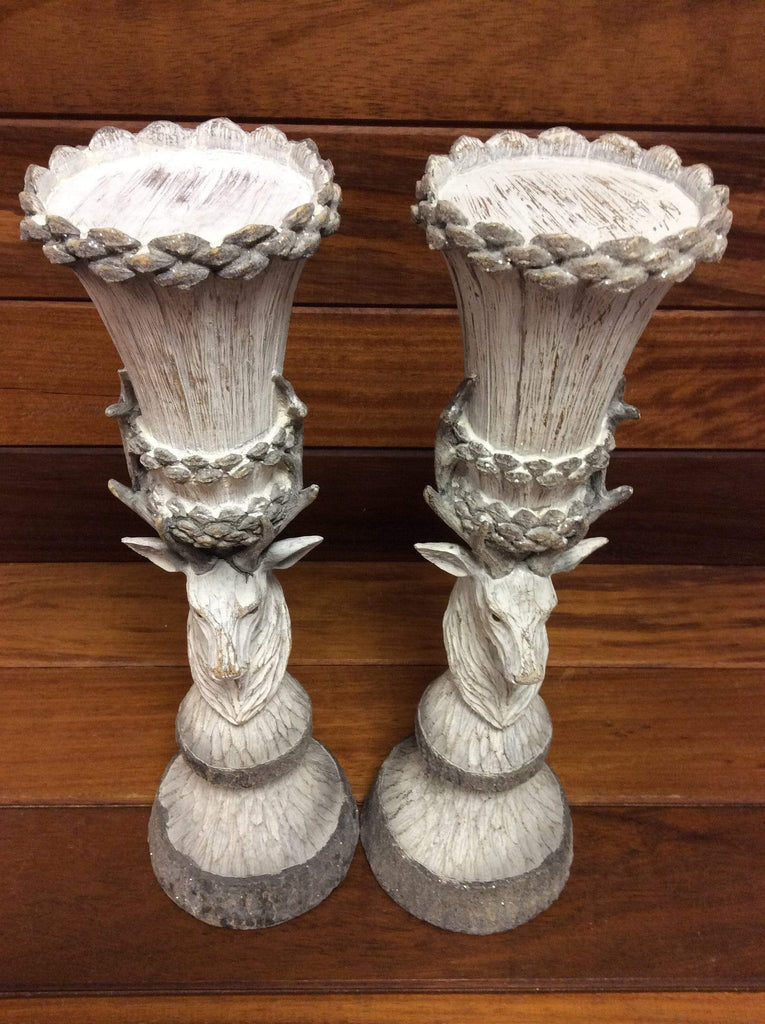 Carved Wood Effect Stag Candlestick (sold individually)
