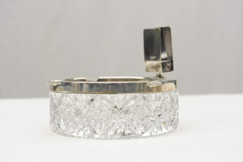 F.B. Silverware Hallmarked Silver and Crystal ashtray.