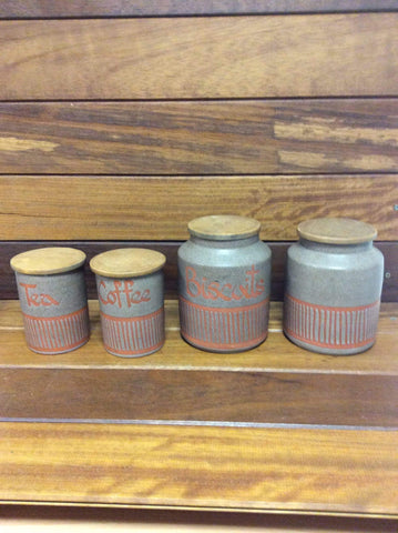Hornsea style Wellhouse Pottery Paignton Tea Coffee Jars 1970s