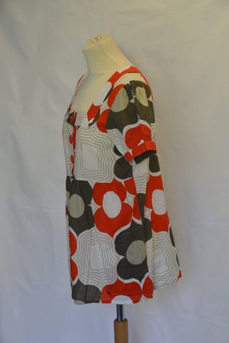Ladies' ICHI Retro print Tunic top UK Size Medium